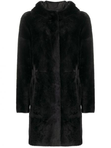 Черное однобортное пальто на кнопках двустороннее Arma