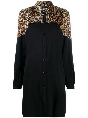 Черное платье макси с длинными рукавами с воротником Just Cavalli