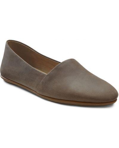 Балетки коричневый кожаные Ecco