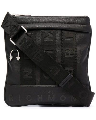 Черная кожаная сумка через плечо на молнии John Richmond