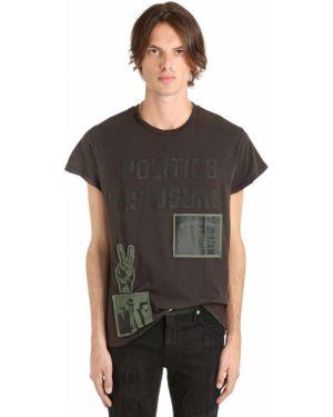 Czarny t-shirt bawełniany z haftem Madeworn X Jay Z