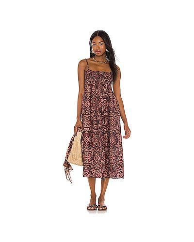С ремешком коричневое платье миди в полоску Solid & Striped