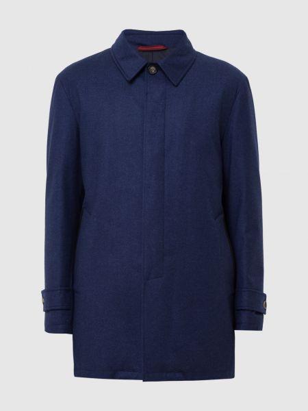 Шерстяное пальто - синее Isaia