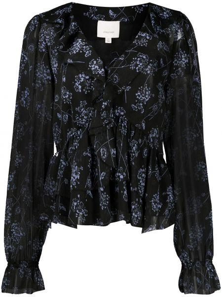 Блузка с принтом - черная Cinq À Sept