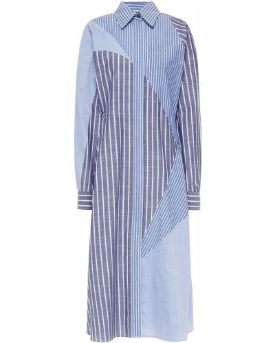 Niebieska sukienka midi rozkloszowana w paski Cedric Charlier