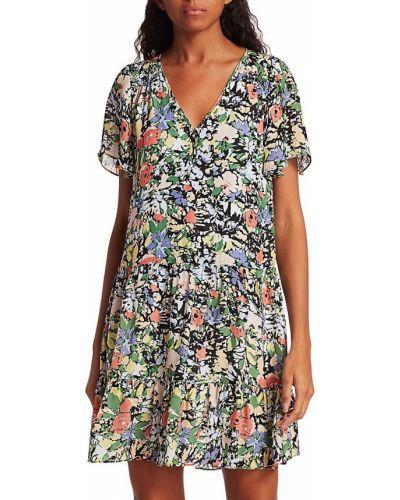Sukienka mini w kwiaty vintage z wiskozy Parker