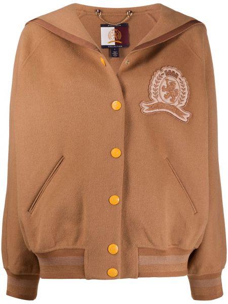 Коричневая куртка с воротником на кнопках Hilfiger Collection