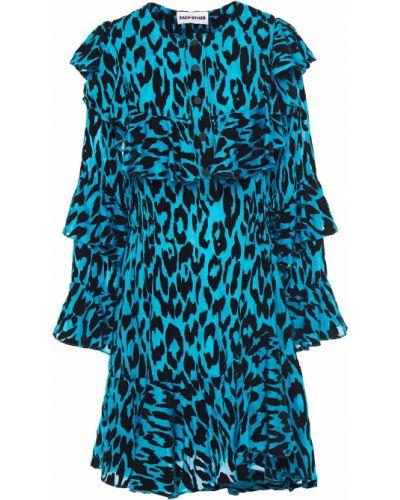 Шелковое синее платье с манжетами Each X Other