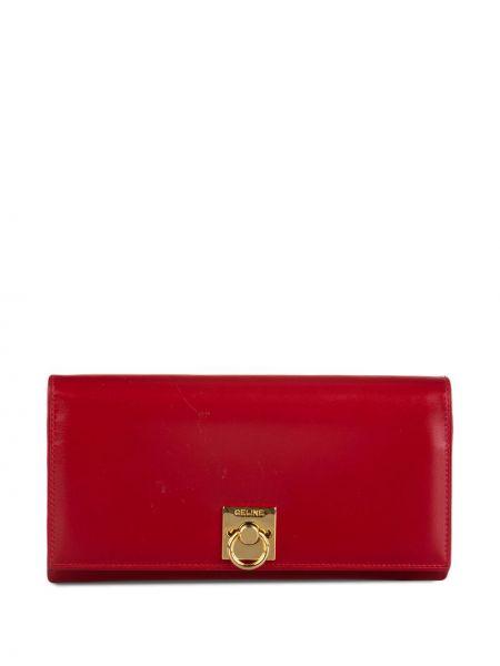 Красный кожаный кошелек с карманами на молнии Céline Pre-owned