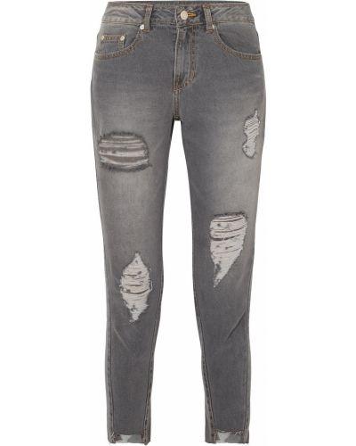 Szare jeansy rurki z paskiem Sjyp