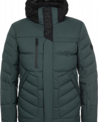 Пуховая прямая зеленая куртка с перьями VÖlkl
