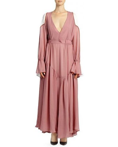 Асимметричное шелковое платье макси с оборками Each X Other