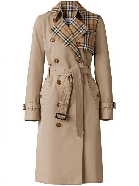 Бежевое кожаное длинное пальто двубортное Burberry