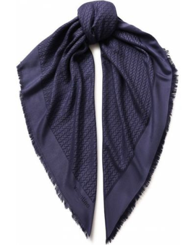 Платок из шелка темно-синий Valentino