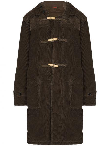 Ватное зеленое пальто вельветовое Denimist