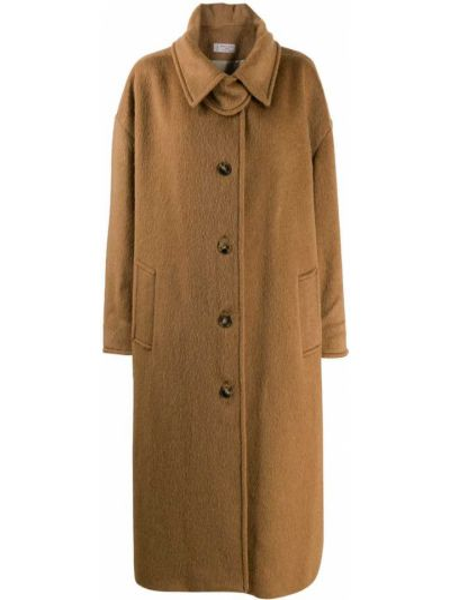 Коричневое шерстяное пальто классическое оверсайз Alberto Biani