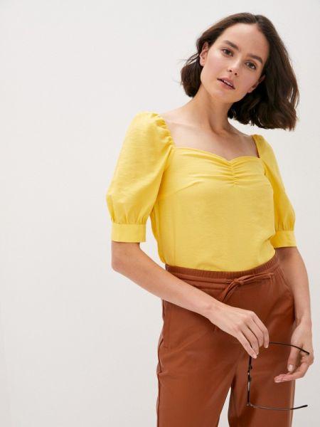 Желтая блузка с открытыми плечами с открытыми плечами Sela