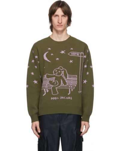Fioletowy sweter wełniany z długimi rękawami Marc Jacobs