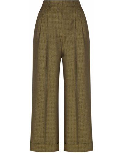 Укороченные брюки зеленый со стрелками Fendi