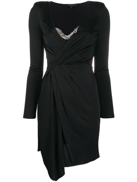 Черное асимметричное облегающее платье с V-образным вырезом из вискозы Patrizia Pepe