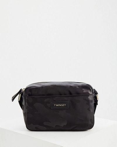 Черная сумка через плечо из полиэстера Twinset Milano