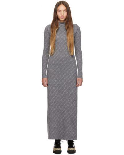 Платье макси вязаное с отложным воротником Stella Mccartney