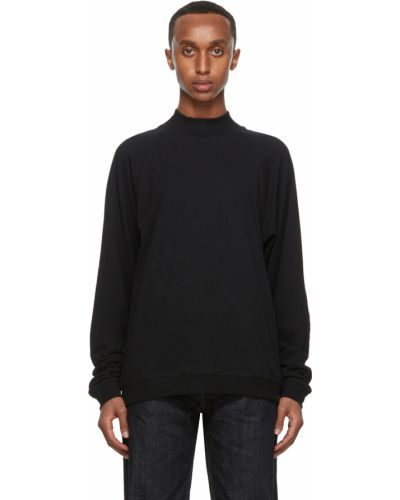 Czarna bluza długa z długimi rękawami bawełniana Lemaire