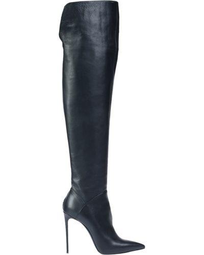 Ботфорты на каблуке кожаные черные Le Silla