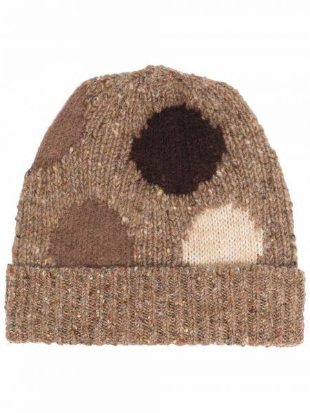 Brązowa czapka z akrylu Acne Studios
