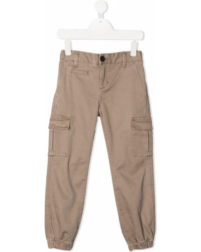Хлопковые бежевые брюки карго с карманами Sun 68