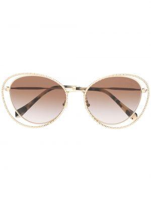 С ромбами золотистые желтые солнцезащитные очки с бриллиантом Miu Miu Eyewear