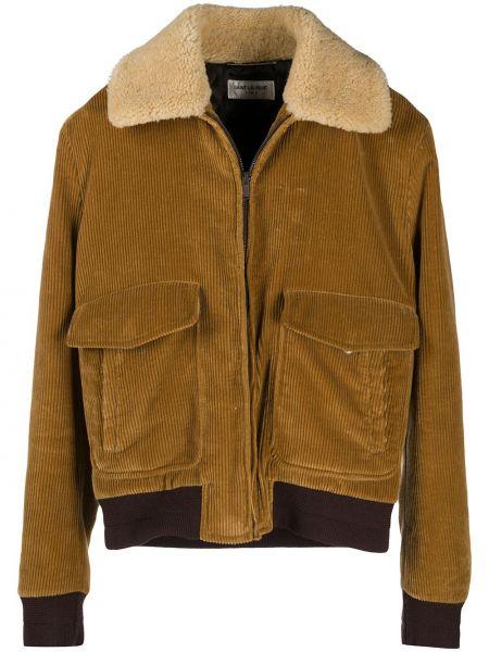 Beżowy aksamit kurtka z kieszeniami Saint Laurent
