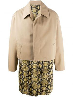 С рукавами желтое длинное пальто с воротником на молнии Cmmn Swdn