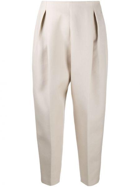 Хлопковые брючные бежевые укороченные брюки с высокой посадкой Agnona