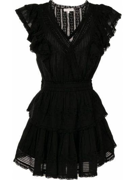 Хлопковое платье мини - черное Loveshackfancy