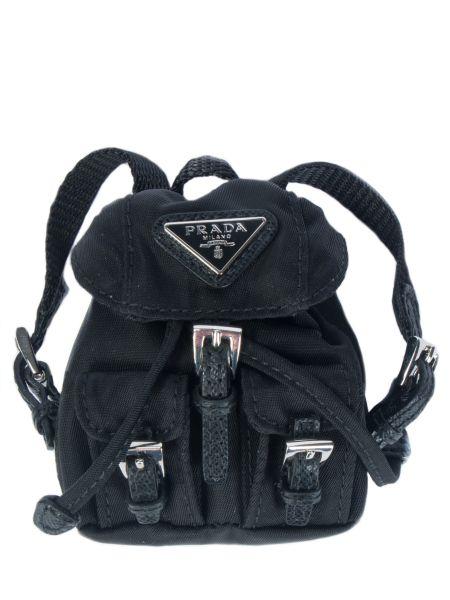 Черный текстильный рюкзак Prada