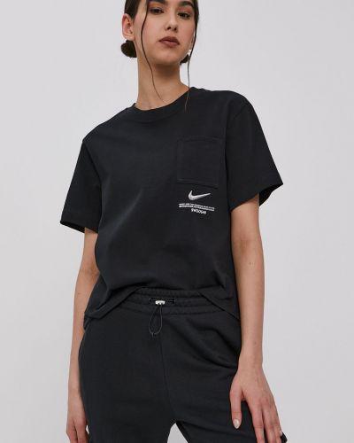 Czarny top bawełniany casual Nike Sportswear