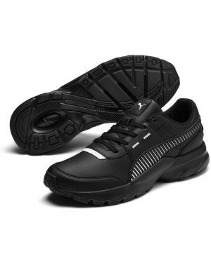 Облегченные кожаные массивные черные кроссовки Puma