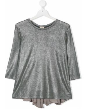 С рукавами блузка со вставками с вырезом Caffe' D'orzo