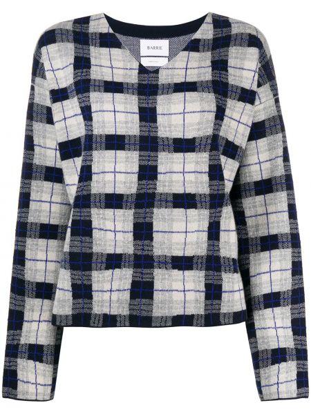 Серый прямой кашемировый пуловер с V-образным вырезом Barrie