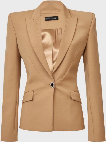 Шерстяной коричневый пиджак на пуговицах David Koma