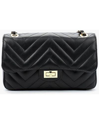 Кожаная сумка через плечо черная Markese