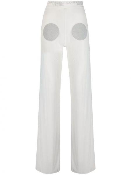 Хлопковые белые брюки с поясом без застежки Courrèges