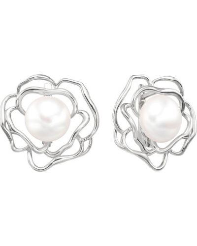 Серьги с жемчугом серебряные De Fleur
