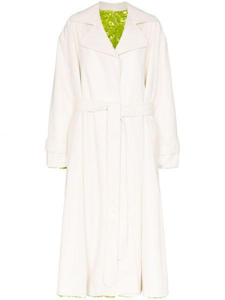 Белое пальто двустороннее с воротником с пайетками Anouki