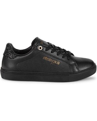 Czarne sneakersy skorzane na obcasie Roberto Cavalli Sport