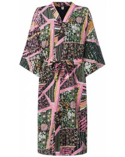 Z rękawami różowy kimono z kołnierzem prążkowany Becksöndergaard