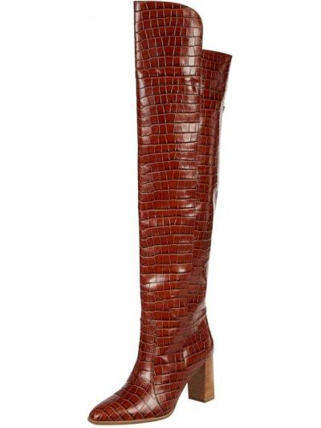 Brązowy skórzany buty na obcasie na pięcie w połowie kolana Högl