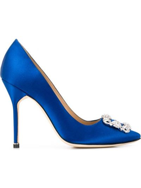 Шелковые синие туфли-лодочки на каблуке Manolo Blahnik