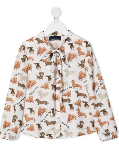 Белая блузка в горошек с бантом Harmont & Blaine Junior